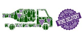 De Collage van de wijnlevering van Wijnflessen en Druif en Grunge-Zegel stock illustratie