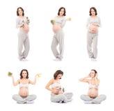 De collage van zwangere vrouwen in verschillend stelt Stock Foto's