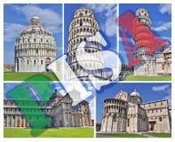 De collagefoto's van Pisa Stock Foto's