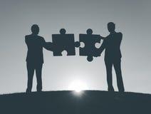 De Collectieve Figuurzaag van de bedrijfsmensenverbinding stock foto's