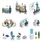 De collectieve isometrische 3D reeks van het bureauleven Stock Afbeeldingen