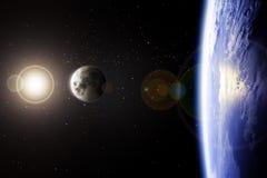 De combinatie van Cinematic van Aarde en Maan Stock Afbeeldingen