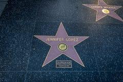 De comemorative ster van Jennifer Lopez bij Hollywood-Gang van Bekendheid in Hollywood-Boulevard - Los Angeles, Californië, de V. stock fotografie