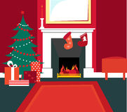 De comfortabele scène van Kerstmis royalty-vrije illustratie