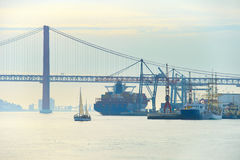 De commerciële haven van Lissabon, Portugal Stock Foto