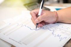 De commerciële holdingspen en denkt met grafiek en calculator Royalty-vrije Stock Foto's