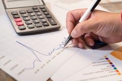 De commerciële holdingspen en denkt met kosten met calculator Royalty-vrije Stock Afbeelding