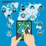 De commerciële Teambouw Verschillende avatar mensen op wereldkaart Royalty-vrije Stock Fotografie