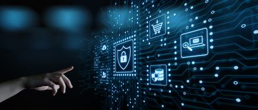 De Commerciële van de de Veiligheidsprivacy van gegevensbeschermingcyber Technologieconcept van Internet royalty-vrije stock afbeelding