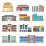 De commerciële vlakke vector van de gebouwenarchitectuur Royalty-vrije Stock Afbeeldingen