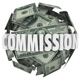 De Commissie Word Honderd Dollar Bill Ball Sphere Stock Foto