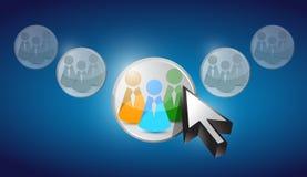 De communautaire selectie van pictogrammensen in curseur Stock Afbeelding