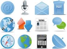 De communicatie blauwe versies van Pictogrammen stock illustratie