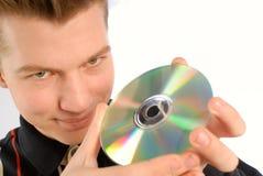 De compact-disc van handen royalty-vrije stock afbeeldingen