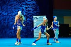 De competities van de kinderen van 'MegaDance' in choreografie, 28 November 2015 in Minsk, Wit-Rusland stock foto