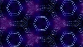De complexe blauwe samenstelling van deeltjes vormt een periodieke structuur 3d lijnanimatie met deeltjes als achtergrond sc.i-FI royalty-vrije illustratie