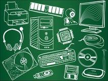 De componenten en de apparaten van PC op school schepen in Stock Foto's