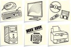 De componenten en de randapparatuur van PC op memorandumstokken Stock Afbeeldingen