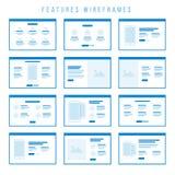 De componenten van eigenschappenwireframe voor prototypen Stock Fotografie