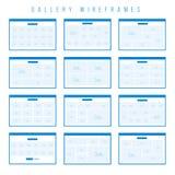 De componenten van galerijwireframe voor prototypen Royalty-vrije Stock Afbeelding