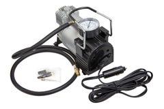 De compressor van de de Bandlucht van de autofiets met slang en manometermeetapparaat Royalty-vrije Stock Afbeeldingen