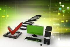 De computadora personal con una marca de verificación ilustración del vector