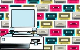 De computadora personal inmóvil obsoleto del viejo del vintage inconformista retro de la antigüedad con una unidad de sistema y u libre illustration