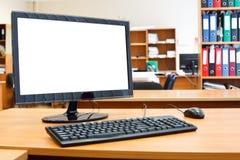 De computadora personal moderno en el escritorio fotografía de archivo