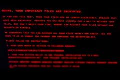 De computer is besmet met het virus Petya A royalty-vrije stock foto