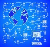 De computer in de wereld. Stock Foto
