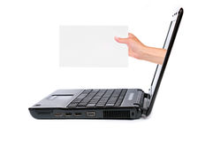 De computer en de hand van het notitieboekje Royalty-vrije Stock Foto