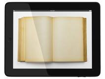 De Computer en het boek van de tablet - het Digitale Concept van de Bibliotheek Stock Fotografie