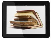 De Computer en het boek van de tablet - het Digitale Concept van de Bibliotheek Royalty-vrije Stock Afbeeldingen