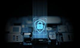 De computer en het mobiele telefoonsysteem worden beschermd door hardware chipset anti-virus Gloeiend schildpictogram met blauwe  stock fotografie