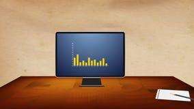 De computer op het bureau toont de bedrijfsresultaten van het bedrijf gebruikend een grafiek stock footage