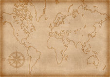 De computer produceerde oude kaart Royalty-vrije Stock Foto's