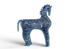 De computer trojan paard van het veiligheidsconcept op witte, 3D illus wordt geïsoleerd die Royalty-vrije Stock Afbeeldingen