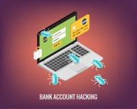 De computer van de hakkeractiviteit en virussenbankrekening die vlakke illustratie binnendringen in een beveiligd computersysteem Royalty-vrije Stock Afbeelding
