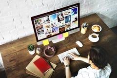 De Computer van de het Ontwerpstudio van het ideeën Creatief Beroep het Werk Concept stock afbeelding