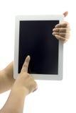 De computer van de tablet die in een hand 1 wordt geïsoleerdg Royalty-vrije Stock Fotografie