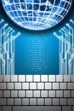 De computer van het toetsenbord die aan digitale bol wordt aangesloten Royalty-vrije Stock Fotografie
