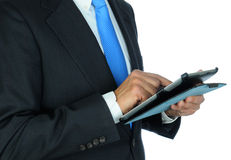 De Computer van zakenmancloseup using tablet Stock Afbeelding