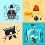 De computerbankrekening van de hakkeractiviteit het binnendringen in een beveiligd computersysteem Royalty-vrije Stock Afbeeldingen