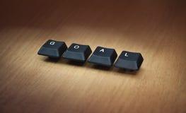 De computerbrieven vormen het woorddoel Twee sleutels Stock Afbeelding
