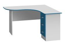 De computerbureau van de bureauhoek met rond gemaakte lijstbovenkant en bedlijst met drie laden Stock Foto