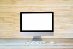 De computerdesktop van het werkruimtemodel op lijst Stock Foto