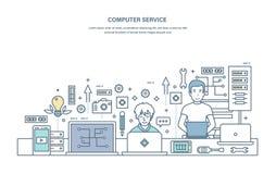 De computerdienst Reparatie, onderhoud van materiaal in de dienstcentrum vector illustratie