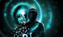 De computerhakker met een kap raakt de touch screen binaire code Lichte golven op abstract binair donker achtergrondhakkersilhoue vector illustratie