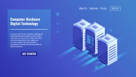 De computerhardware, serverruimte, rek, digitale technologie, gegevens centreert, drie computerverblijf op rij isometrische vecto royalty-vrije illustratie