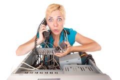 De computerproblemen van de vrouw Stock Afbeeldingen
